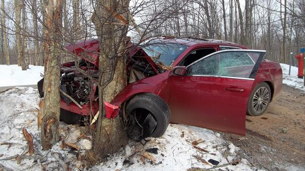 A car driven by a 19-year-old man crashed into a tree in Bates Township, Mich., in April. The Iron County Sheriff's Department said investigators believed the driver, who survived the crash, was drunk and speeding.