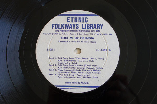 <p><strong>Folkways Records</strong><br />(<em>Folk Music of India </em>by Various Artists, 1950)</p><p></p>