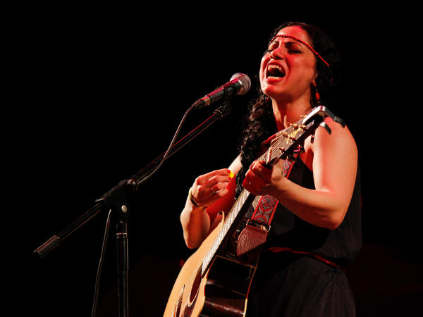 Emel Mathlouthi, known as the voice of Tunisia's revolution, performs at Qasr El Nil Theater. Her songs of freedom left the audience weeping.