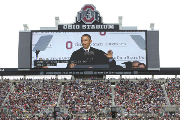 """President Obama's commencement speeches often seem more about the big-picture state of the union than do his State of the Union addresses. On May 5, he told Ohio State students that they were graduating into a """"healing"""" economy."""