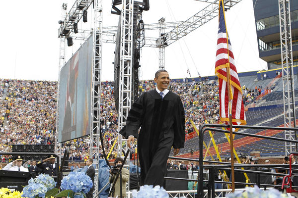 """Throughout all his graduation speeches, Obama sounds themes of shared responsibility, as when he told University of Michigan students in 2010 that """"government is us."""""""