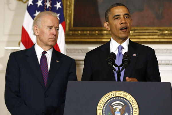 President Obama speaks next to Vice President Biden at the White House about the devastating tornadoes and severe weather impacting Oklahoma. Obama promised to make available government resources to help rescue and recovery efforts.