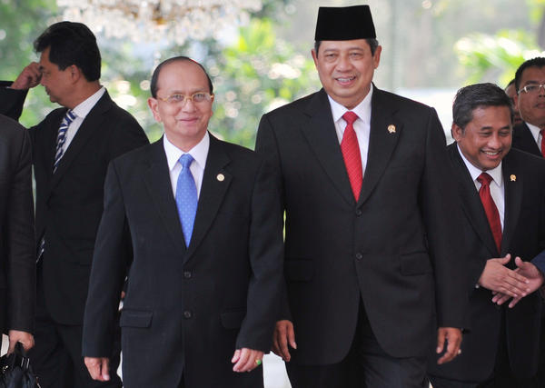 Indonesian President Susilo Bambang Yudhoyono (right) walks with Myanmar's then-prime minister, Gen. Thein Sein, at the Presidential Palace in Jakarta on March 16, 2009. Both men are former military officers, leading their Southeast Asian nations along a sometimes rocky path to democracy.