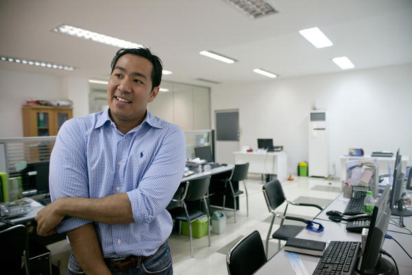 Educated in the U.S., Aung worked in Silicon Valley for a number of tech companies, including Google, before returning to Myanmar. Here he is at his office shortly after closing time. His employees keep to a tight schedule, starting early in the morning and leaving at 5:30 p.m. every day.