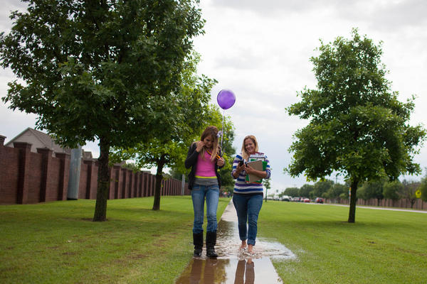 Sixth-grader Mckayla Franks leaves Eastlake Elementary with her mother, Summer Franks.