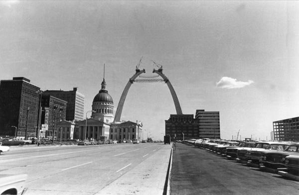 The Arch nears completion as the two legs stretch to within 6 feet of their intended 630-foot height on Sept. 25, 1965.