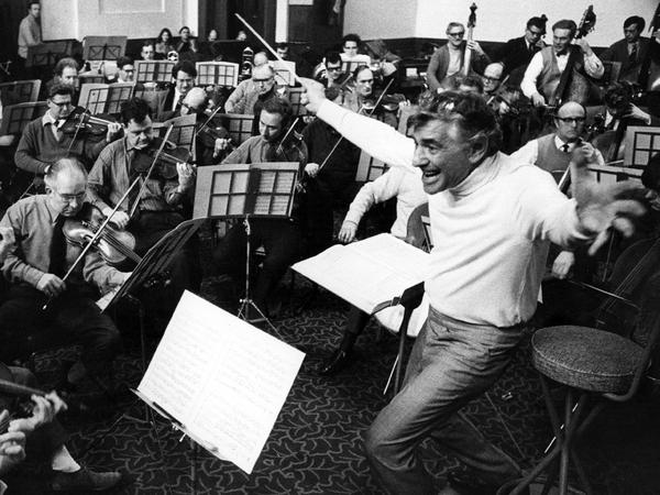 """Leonard Bernstein leads the London Symphony Orchestra. He called Stravinsky's famously savage <em>Rite of Spring </em>""""extremely tuneful and dancy, rhythmically seductive, beguiling."""""""