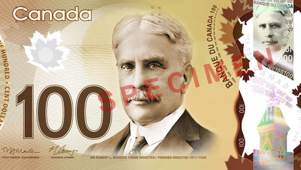 Canada's $100 bill. Some think it smells sweet.