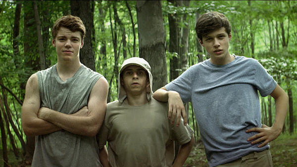 <em>The Kings Of Summer </em>stars (from left) Gabriel Basso as Patrick, Moises Arias as Biaggio and Nick Robinson as Joe. The three teenagers escape from their constrictive parents to build a house of their own in the woods.