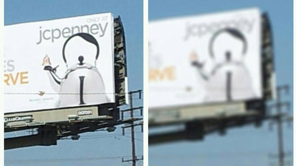 Photos of a JC Penney billboard in Culver City, Calif., spurred an online debate over whether the tea kettle resembles German tyrant Adolf Hitler.