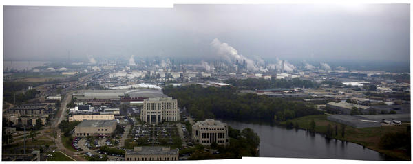 This composite image from the top of the Louisiana state capitol building shows the Exxon Mobil complex in Baton Rouge.