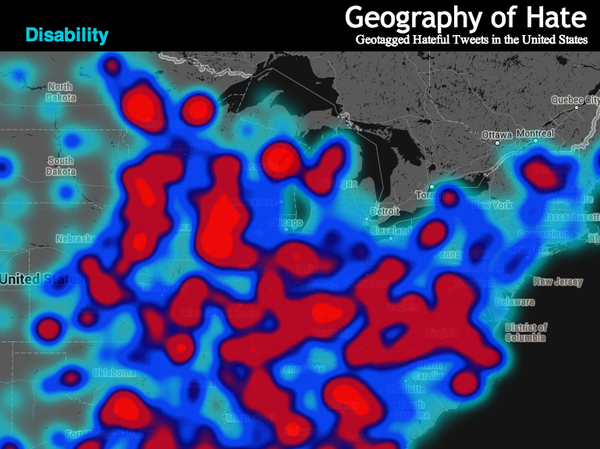 """<a href=""""http://users.humboldt.edu/mstephens/hate/hate_map.html"""">Monica Stephen's """"Geography of Hate"""" map, shows the locations of racial slurs on Twitter.</a>"""