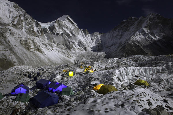 An image from <em>The Call of Everest </em>shows a quiet night at Base Camp.