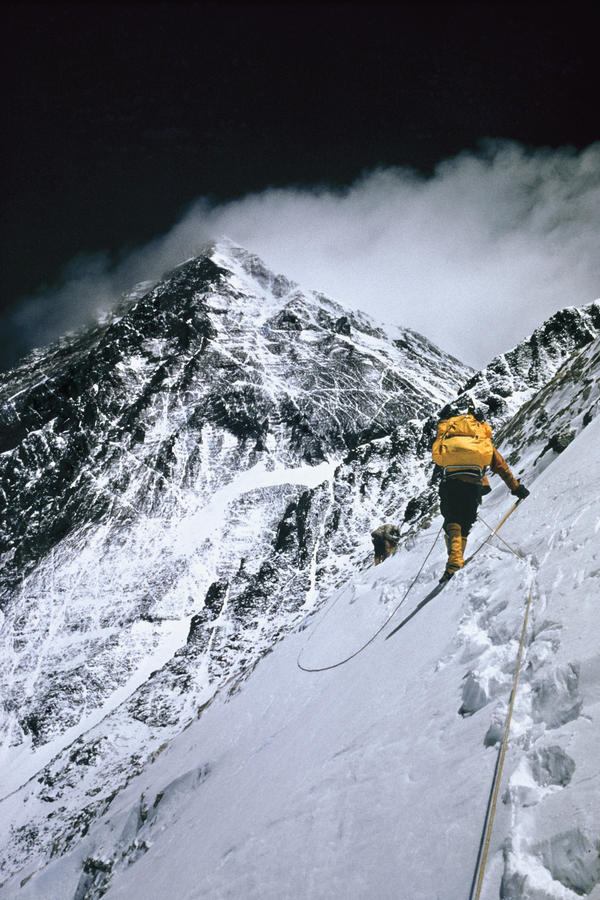 At 25,000 feet, this photo from the 1963 expedition shows the push towards the summit.