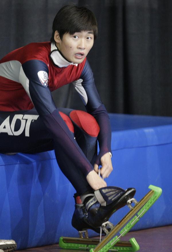 U.S. speedskater Simon Cho, seen here in 2012, will boycott a hearing in Germany over an incident in which he tampered with a Canadian athlete's skate. Cho says his coach ordered him to tamper with the equipment.