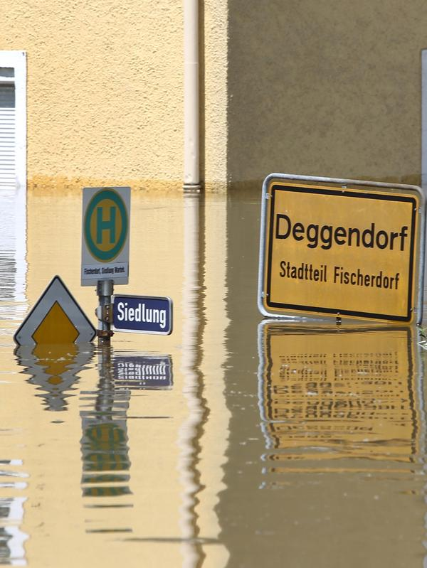 A submerged sign in the floods in Deggendorf, southern Germany, on June 5, 2013.