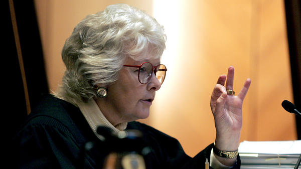 Chief Justice Margaret Marshall asks petitioner to explain a point during arguments before the Supreme Judicial Court in Boston in 2005.