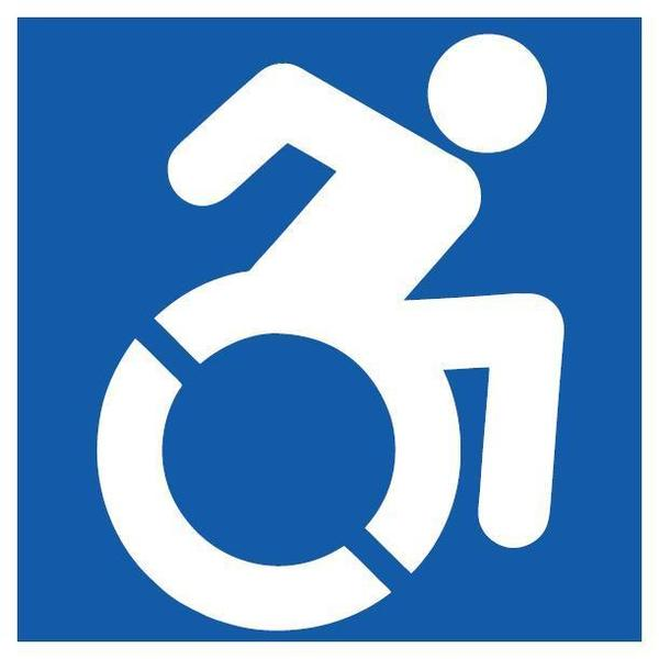 This new handicapped sign will appear in New York City this summer.