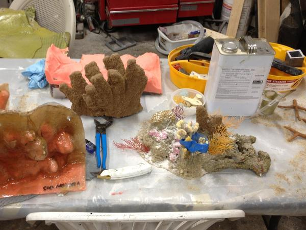 At the National Aquarium's fabrication shop, intricate reef life is made of fiberglass and polyester.