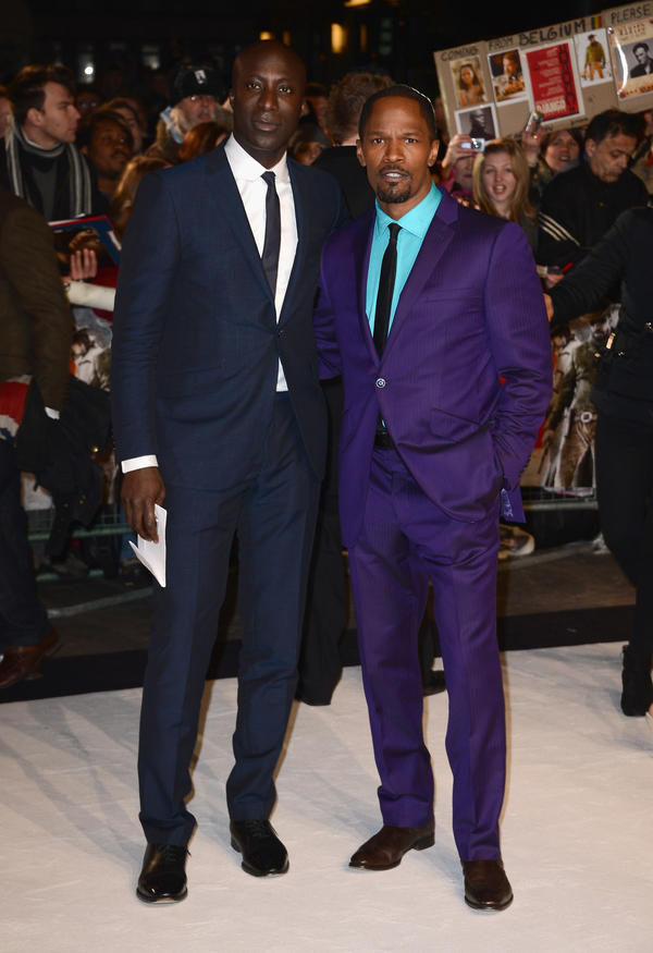 Boateng and actor Jamie Foxx attend the U.K. premiere of <em>Django Unchained.</em>