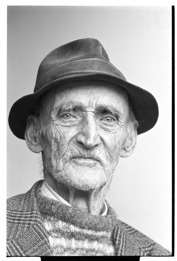 """Old man,"" a well-known character from Fivemiletown, County Tyrone, Northern Ireland, 1980s."