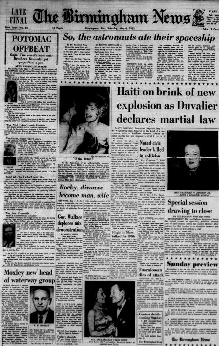 The <em>Birmingham News' </em>front page<em> </em>on May 4, 1963.