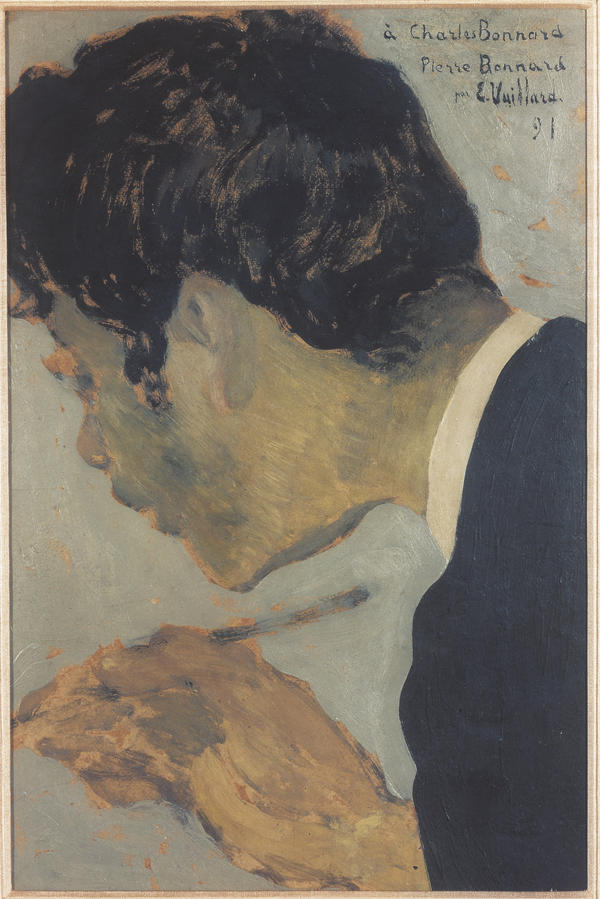 Vuillard's 1891 portrait of Bonnard is an intimate depiction of an artist at work. Both portraits are part of the Hays Collection, currently on display at the Musee d'Orsay.