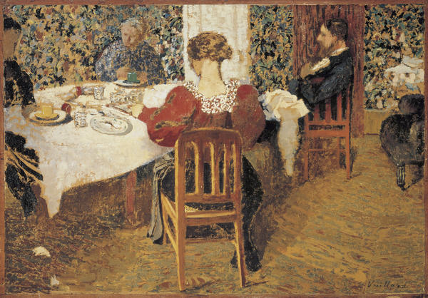 <em>A table (Le Dejeuner)</em>, an 1892 oil painting by Edouard Vuillard, appears to show a quiet domestic scene. But Isabelle Cahn, the curator of a new show at the Musee d'Orsay, says this painting actually depicts a scandal-ridden household.