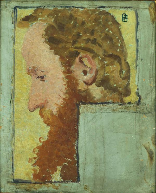 In 1891, the artists and lifelong friends Pierre Bonnard and Edouard Vuillard created complementary portraits of each other. Here, Bonnard's portrait of Vuillard emphasizes the painter's red beard.