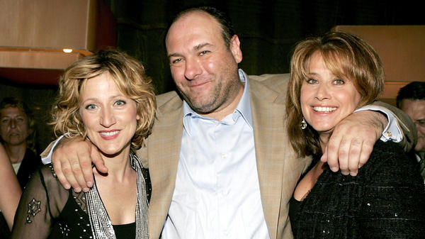 Actor James Gandolfini has died while on a trip to Italy. He's seen here with <em>Sopranos</em> co-stars Edie Falco, left, and Lorraine Bracco.