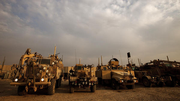 Mine-resistant, ambush-protected vehicles — MRAPs — like these are some of the more than $7 billion in equipment the U.S. Army is dismantling and selling as scrap in Afghanistan.