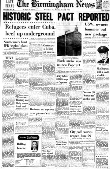 The front page of the <em>Birmingham News</em> on June 20, 1963.