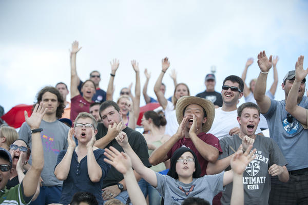 Fans cheer the DC Current Ultimate Frisbee team during their game against the New York Rumble on June 23 at Washington-Lee High School in Arlington, Va. The fan base for this sport has grown in recent years, with the average attendance at professional games around 500 people.