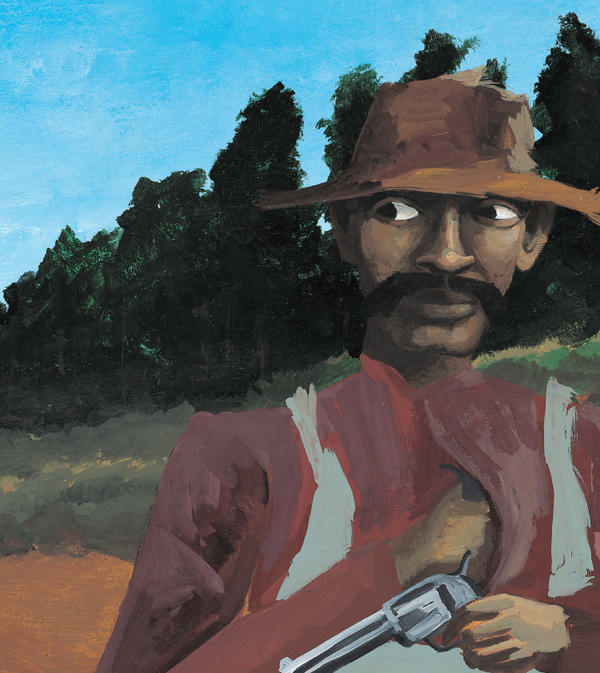 <em>Bad News For Outlaws</em> tells the true story of Bass Reeves, an African-American U.S. marshal in the Old West — shown here disguised as a farmer. The book won a Coretta Scott King award and became one of Lerner Books' best-selling titles.