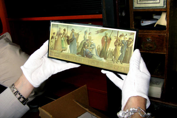 These small panels painted with replicas of wall murals of various women were among the items in the safe. The murals were commissioned for the Chicago World's Fair.