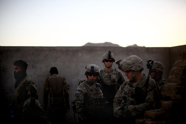 U.S. soldiers prepare for a foot patrol in Arghandab. The American forces have pacified the area for now, but it's been a tough fight, and there are concerns that the Taliban will attempt to reassert themselves after the U.S. troops leave.