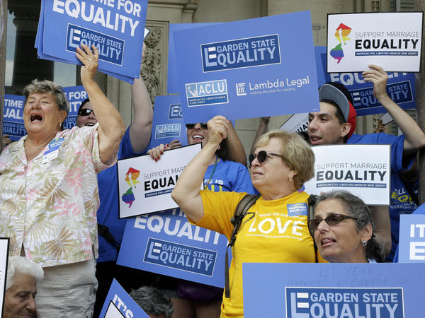Advocates for gay marriage in gather outside the New Jersey Statehouse on Thursday.