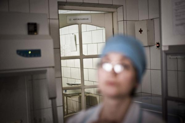 Microbiologist Silivanova Olga heads the medical laboratory at the facility. The prison system has a partnership with a nonprofit to treat inmates here for drug-resistant tuberculosis.