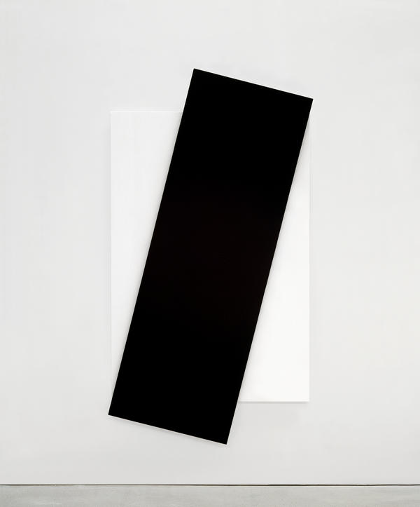 Ellsworth Kelly, <em>Black Diagonal,</em> 2007. Oil on canvas, two joined panels, 103 1/4 x 56 5/8 x 2 3/4 inches. Private collection.