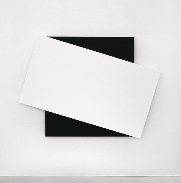 Ellsworth Kelly, <em>White Diagonal II,</em> 2008. Oil on canvas, two joined panels, 66 1/2 x 91 x 2 5/8 inches. Private collection.