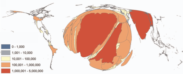 A world map with each country's size based on the predicted number of babies born with sickle cell anemia between 2010 and 2050. The highest rates are expected in sub-Saharan Africa and India.