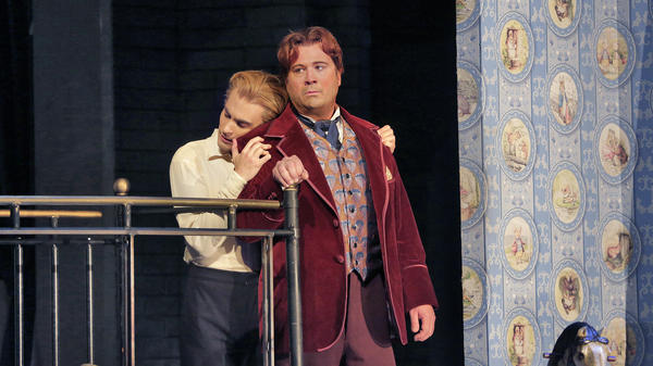Countertenor David Daniels (right) and dancer Reed Luplau in the Santa Fe Opera's world-premiere production of <em>Oscar,</em> based on the life of Oscar Wilde.