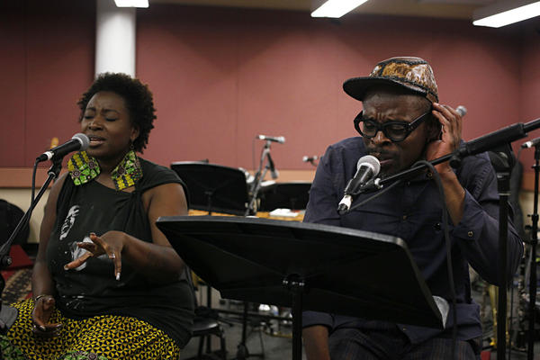 "Vocalists Abena Koomson and Sahr Ngaujah — who starred in the off-Broadway and Broadway productions of <em>FELA!</em>, the musical based on the life of Nigerian Afrobeat pioneer Fela Kuti — join Kronos to rehearse the iconic Fela song ""Sorrow, Tears and Blood."""