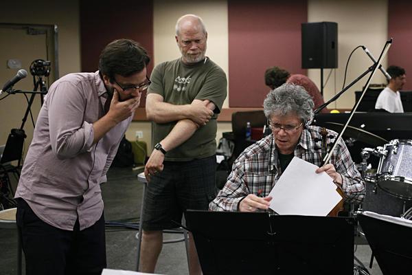 <em>Red Hot + Fela!</em> musical director Stuart Bogie, Kronos production director Laurence Neff and Harrington confer over details.