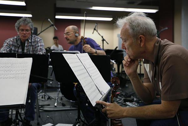 The Kronos Quartet's David Harrington, John Sherba and Hank Dutt in rehearsal at Carroll Studios in New York Tuesday.