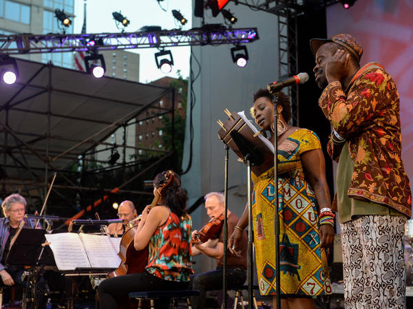 "<a href=""http://www.npr.org/event/music/205177864/kronos-quartet-behind-the-scenes-and-out-of-doors""></a>Fela Kuti's ""Sorrow, Tears and Blood"" performed by the Kronos Quartet and the vibrant Abena Koomson and Sahr Ngaujah."
