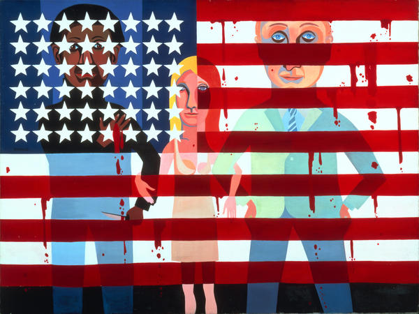 "In 1963, Faith Ringgold began a series of 20 paintings called ""The American People."" She she wanted to create images that would make people really <em>look.</em> ""The more they look, the more they see,"" she says. Above,<em> #18: The Flag Is Bleeding,</em> 1967, oil on canvas."