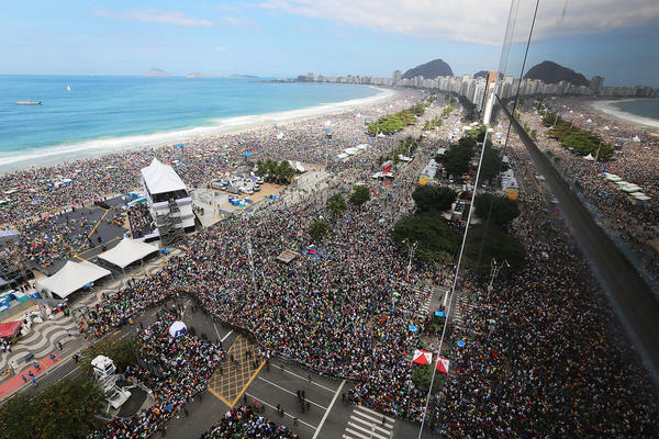Millions jammed Copacabana Beach in Rio de Janeiro for Pope Francis' final Mass on his trip to Brazil on Sunday.