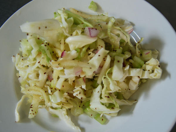 Napa cabbage and apple slaw.