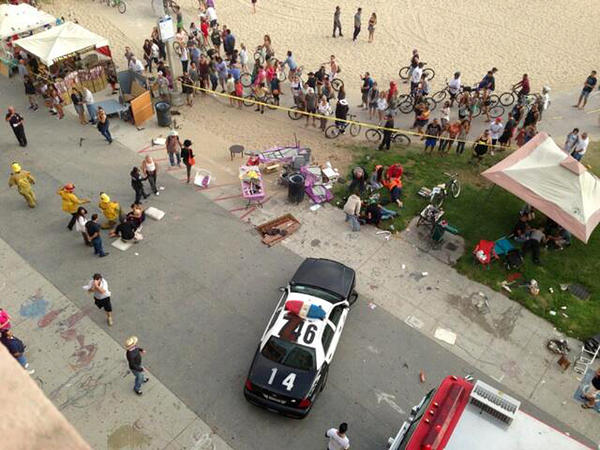 Police and fire officials respond after a car drove through a packed afternoon crowd along the Venice Beach boardwalk in Los Angeles on Saturday.